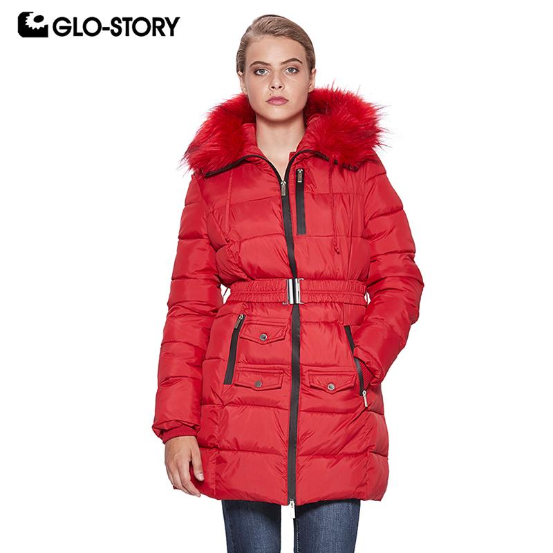 GLO-STORY 2018 Women Winter Coat Female   Parka   with Fur Hooded Adjustable Waist Ladies Coats Women Clothes WMA-6535