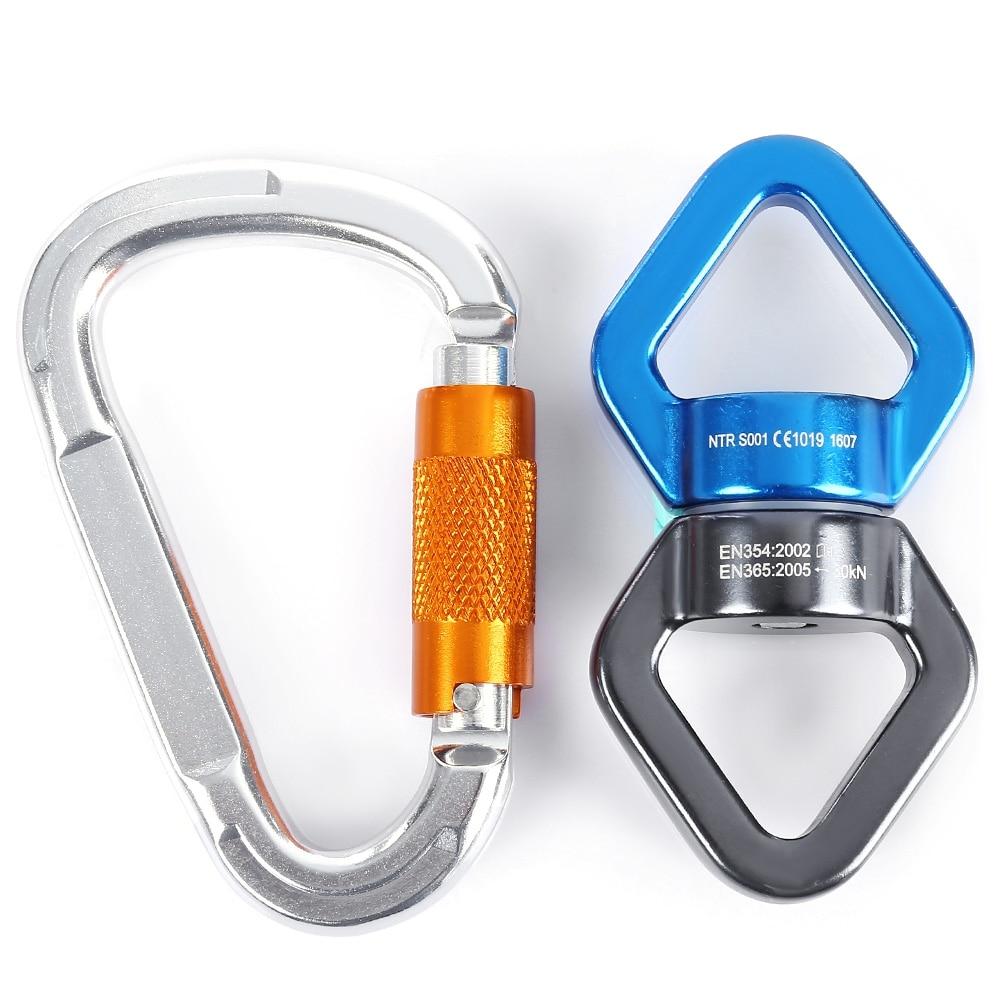 Gancho de mosquetón de aluminio profesional + conector de fijación - Camping y senderismo - foto 2