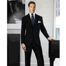 mens grooming tuxedo black custom made suit men two button for wedding formal wear 2017