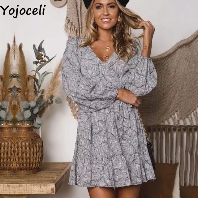 98d8528673 Yojoceli Sexy leaf printed wrap dress women vestidos Autumn casual daily  party short dress female Winter ruffle elegant dresses