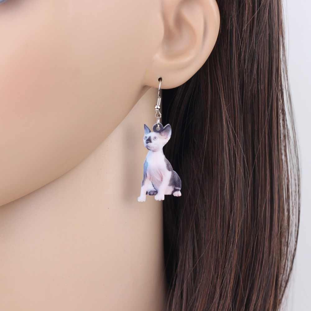 WEVENI acrylique nouveauté canadien sans poils Sphynx chats boucles d'oreilles longue pendaison bijoux Anime pour femmes filles dames mode animaux
