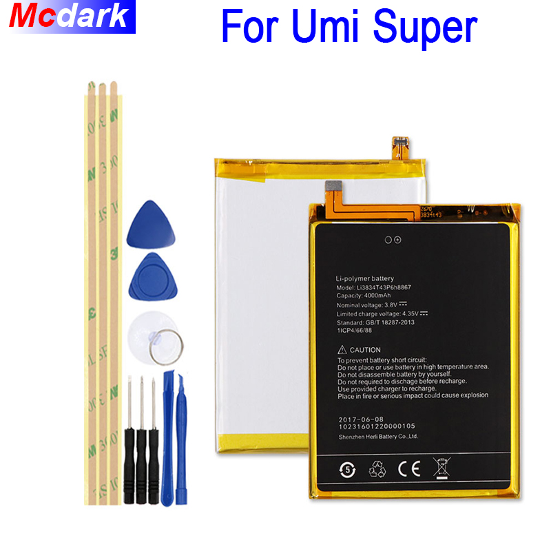 Para UMI Li3834T43P6H8867 SUPER Bateria 4000 mah Batterie Bateria do Acumulador AKKU + Ferramentas