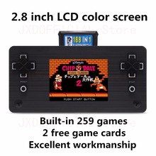 купить New 2.8 Inch Video Game Console Handheld Console Built-in 259 Games with 2 Game Card Support AVOUT rechargeable lithium battery дешево