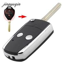 Jingyuqin 10 шт./лот 2 кнопки Uncut TOY43 изменить Флип складной Оболочки пригодный для Toyota Echo Прадо Авалон 2b брелок чехол