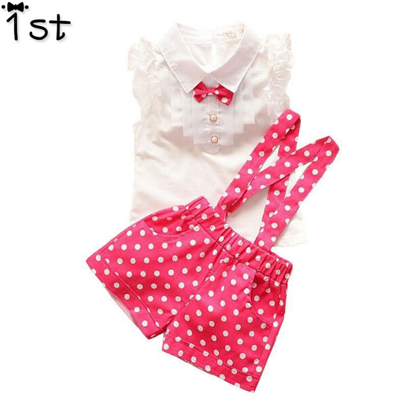 1st 2018 New Summer style Kids Clothing Set T Shirt And dot shorts Pants 3 Colors Children Girl Clothes Sets For Free Shipping fashion baby girl t shirt set cotton heart print shirt hole denim cropped trousers casual polka dot children clothing set