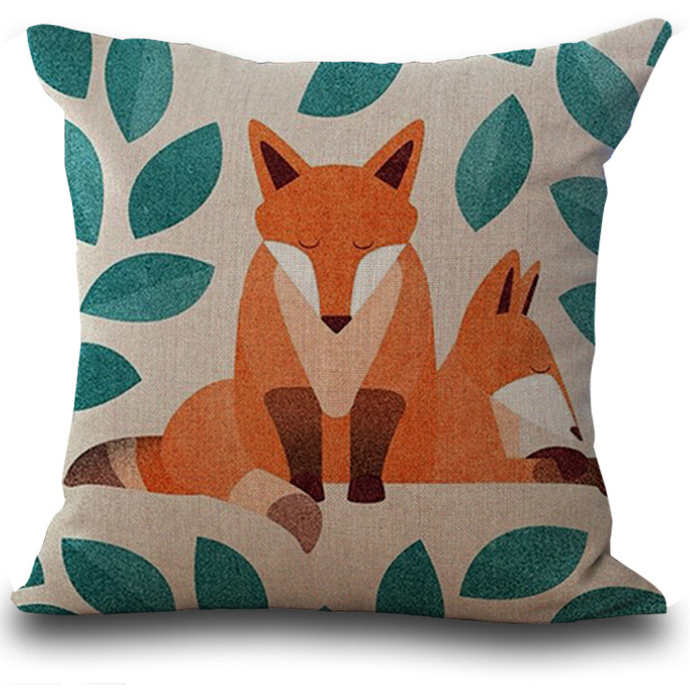 Bed pillow chair - 1 Pcs Super Lovely Different States Fox Print Pillow Cover Chair Bed Home Decorative Pillow Case