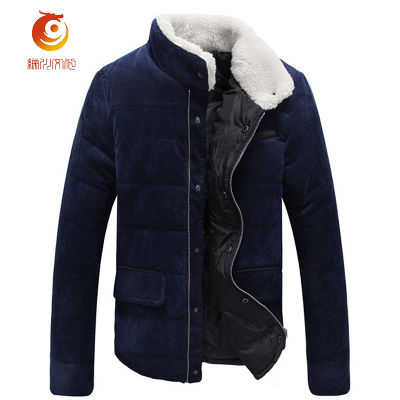 Winter New Men Keep Warm Cotton Jackets Fashion Thick Corduroy Solid Color Mens Winter Jackets Stand Collar Jacket Coat Size 3XL 2016 new long winter jacket men cotton padded jackets mens winter coat men plus size xxxl