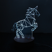 1piece L2218 Unicorn Lamp 3D LED Creative Gifts Bedroom Study Atmosphere Night Light For Children Christmas