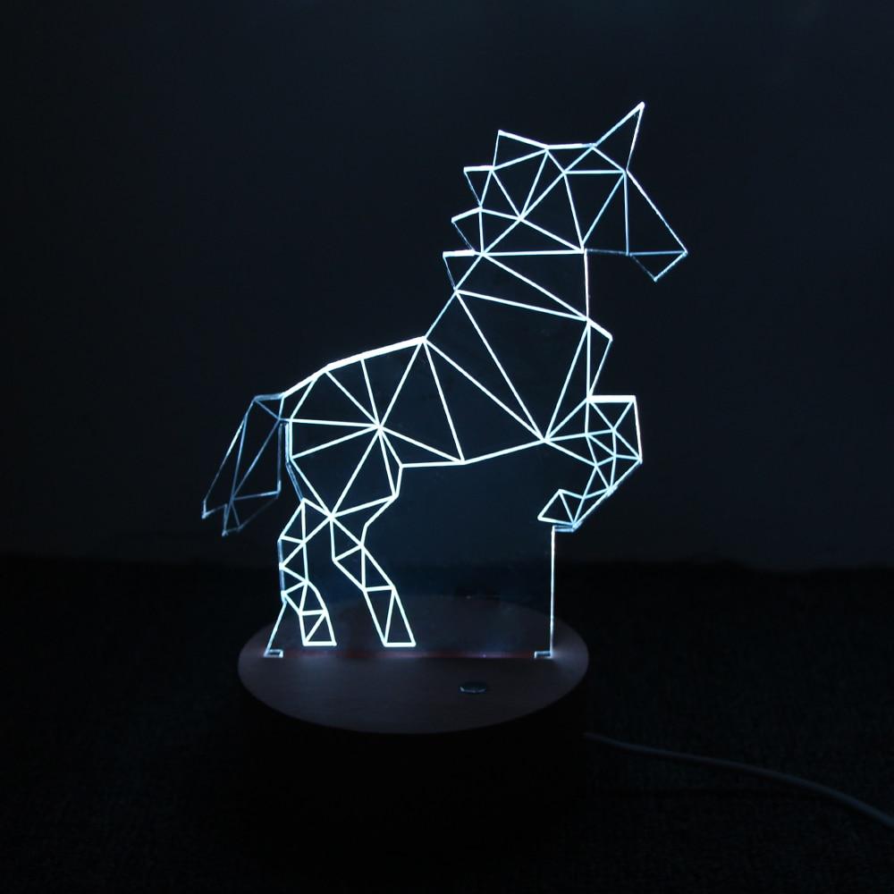 Eenhoornlamp 3D LED Creatieve geschenken Slaapkamer Studie Sfeer - Nachtlampje