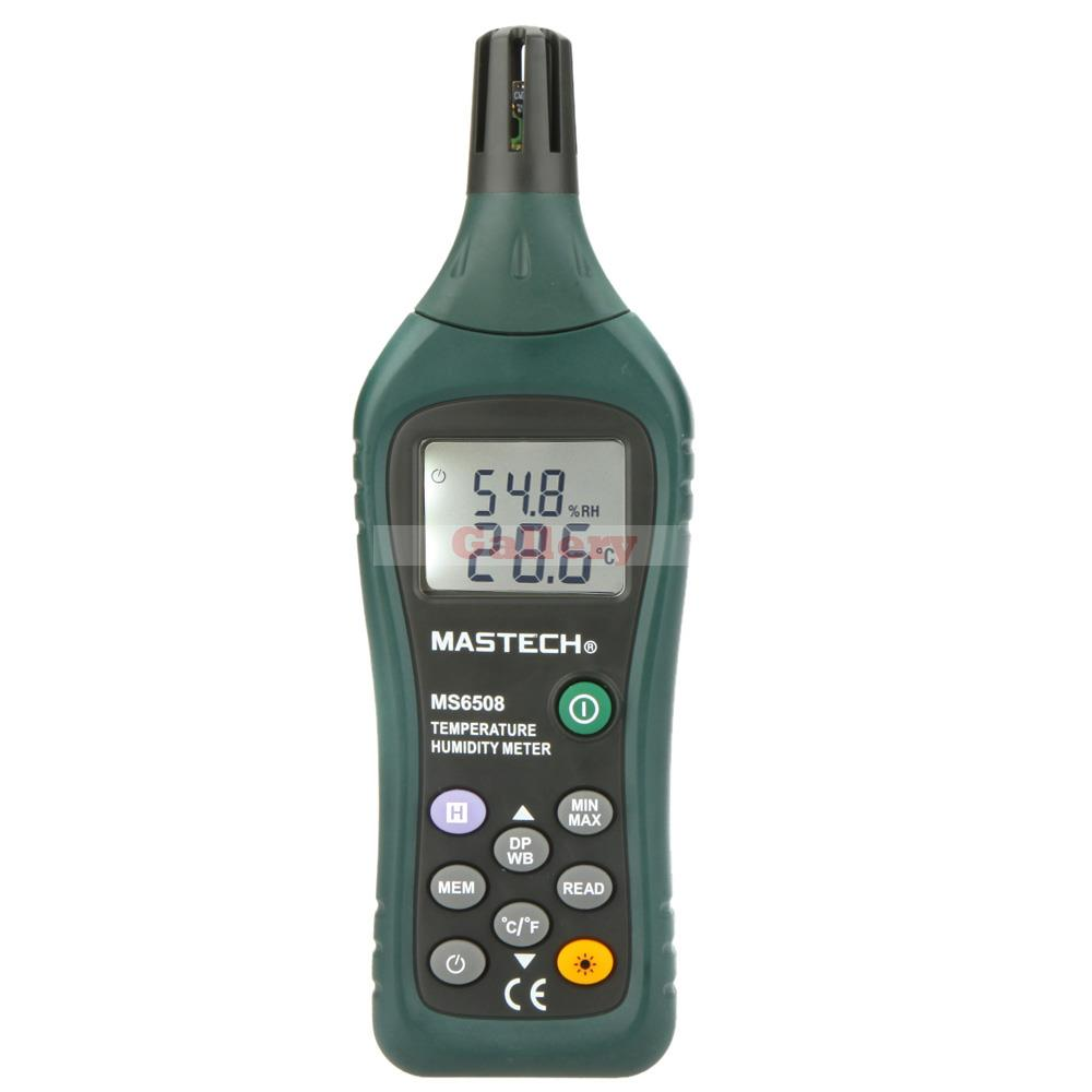 Mastech Ms6508 Thermo Hygrometer Digital Temperature Humidity Moisture Meter Tester Thermometer Moisture Meter Moisture Meter mastech ms6514 dual channel digital thermometer temperature logger tester usb interface 1000 set data k j t e r s n thermocouple