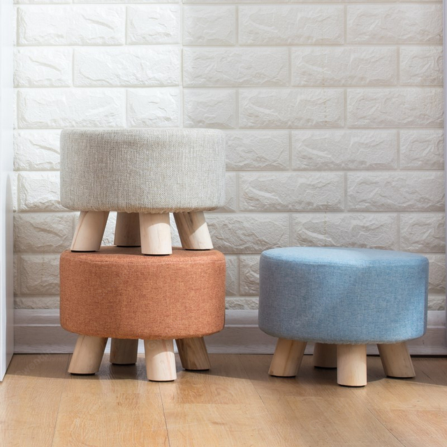 Nordic Round Fabric Stool Wooden Leg Pattern Modern Fashion Wood Small Chair Living Room Mound Sofa Bedroom Bench Kids Furniture
