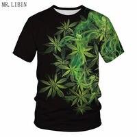 MR. LIBIN натуральные сорняки крутые свежие зеленые листья травы полная печать 3D футболка крутая мужская футболка Летняя мышечная одежда Пряма...