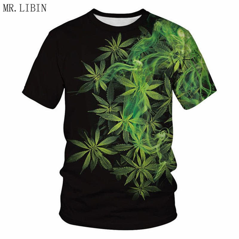 MR.LIBIN Natural Weeds Cool Fresh Green Weed Leaves Full Print 3D T-shirt Cool Man's Top Tee Summer Muscle Outfit Dropship