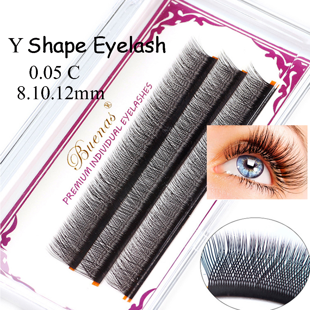 84fc1eafc91 Y Shape Individual Eyelashes Extension Quick Bloom Faux Mink Eyelash 0.05 C  Curl Thick Long Natural
