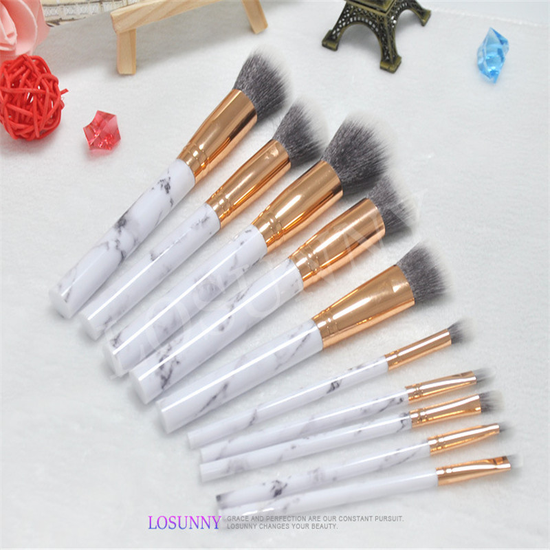 10pcs/Sets Explosion of 10 Makeup Brush Imitation Marble Makeup Brush Suit Plastic Handle Spot Box Makeup Tools Factory Direct