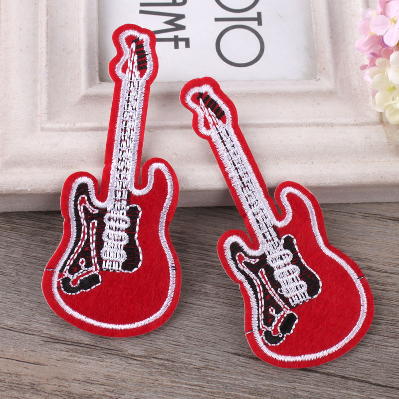 Clothes, patches, men and women, fashion handmade cloth, decorative clothes, taped Red Guitar students