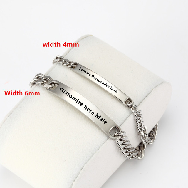 2pcs Customized Bracelet Set Valentine S Day Gift His Hers Engraved Bracelets