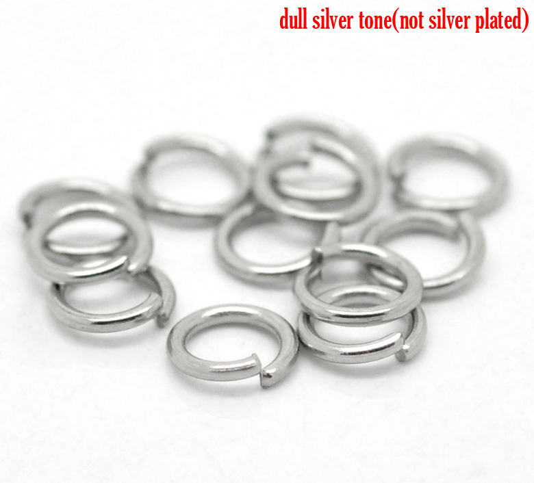 DoreenBeads Stainless Steel Opened Jump Rings Round Silver Tone 6mm( 2/8