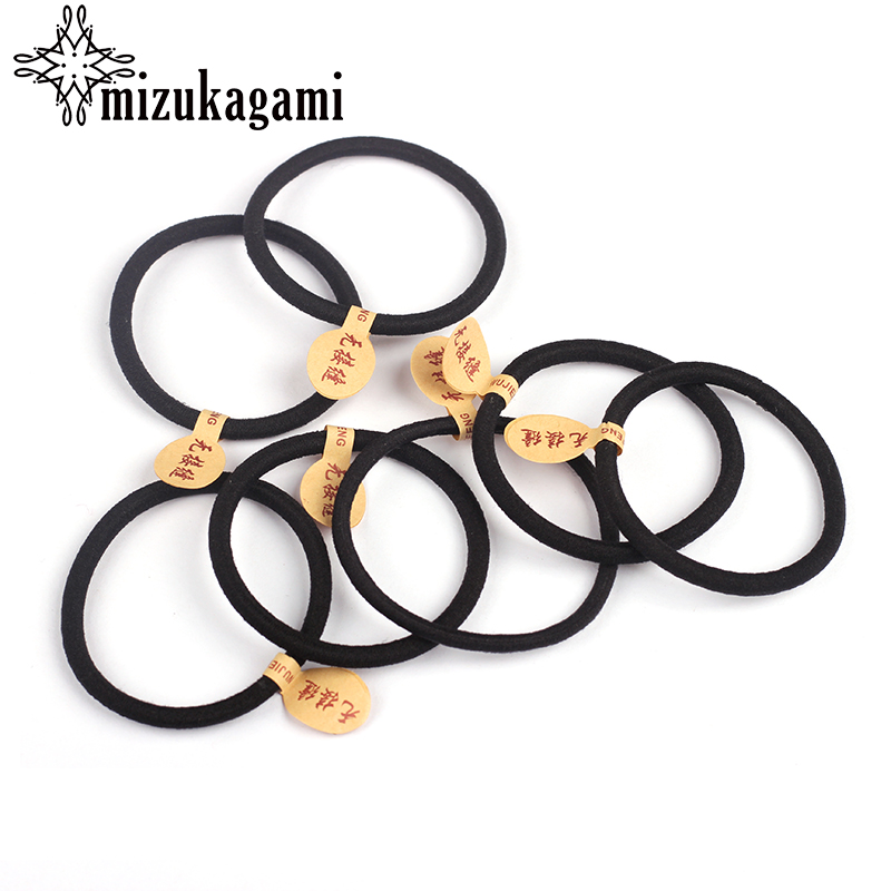 50pcs/lot 3mm 4mm 5mm Black Elastic Rubber Bands Solid Headwear For DIY Women Hair Accessories Scrunchy Ornaments Hair Ring