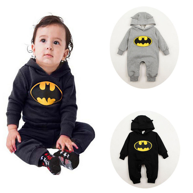 2016baby batman romper winter autumn long sleeve baby hooded romper newborn infant sleepers toddlers coveralls halloween