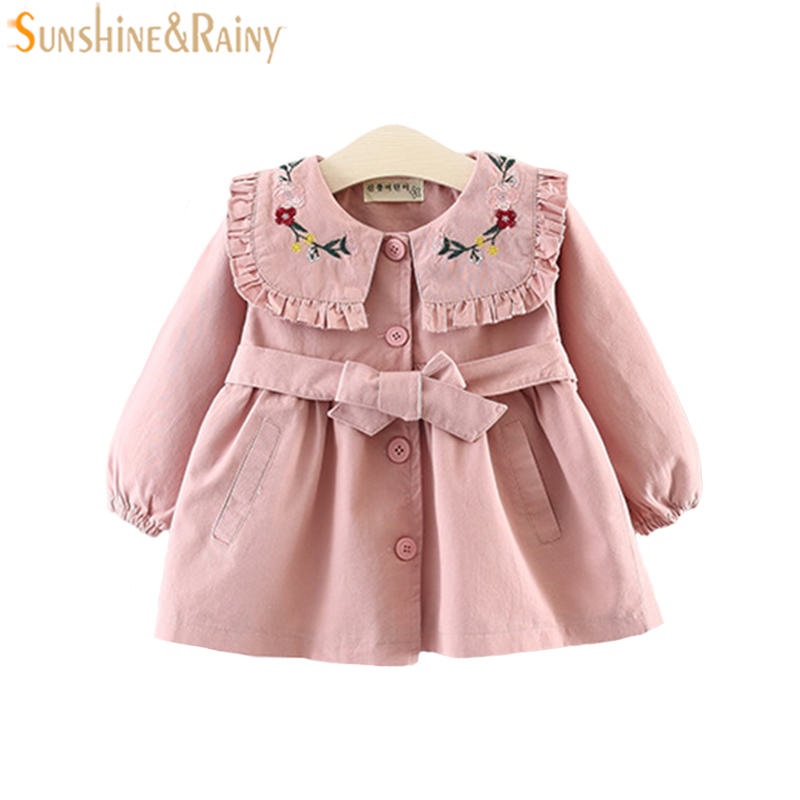 Flower Embroidered Spring Jackets For Baby Girls Coat Kids Girl Windbreaker Baby Jacket And Coat Children Outerwear Clothes