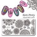 BORN PRETTY Template Stamping Plate Floral Rectangle Manicure Nail Art Image Plate BPX-L019