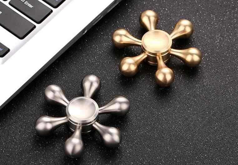 Rodamiento de 6 ángulos tamaño 696 cobre/acero inoxidable profesional EDC Spinner de mano Torqbar latón Fidget juguete Spinner para el TDAH
