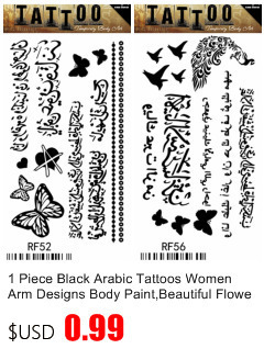 50pcs/lot Black Arabic Tattoos Women Arm Designs,Beautiful Flower Butterfly Waterproof Fake Temporary Tattoo Stickers Wholesale 8
