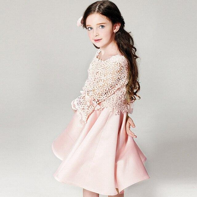 35673085424 В 2016 году розовое платье принцессы с кружевом Нарядные платья на свадьбу  Летние вечерние платья девочки