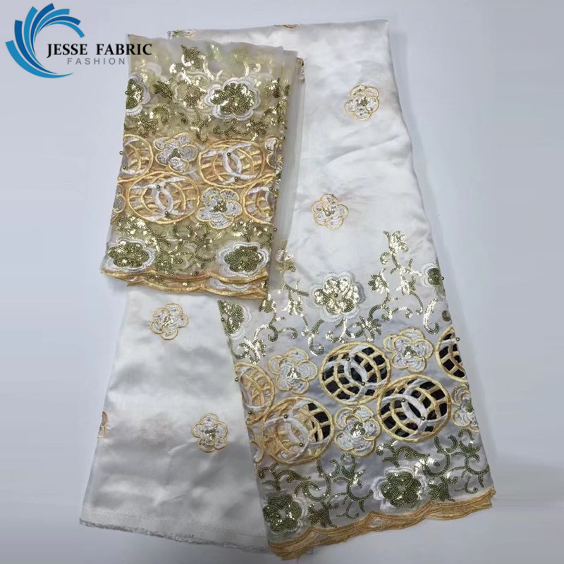 2017 New design african george lace fabric High quality Nigerian satin george lace fabrics for wedding dress white Indian laces