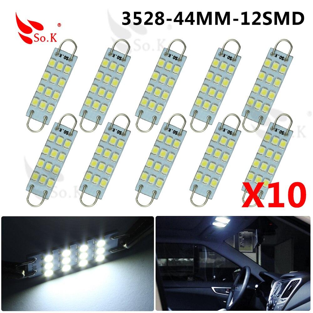LED Car Lights 10pcs White Festoon 44mm 12SMD led Rigid Loop 1.73 LED Light Bulbs 561 562 567 Cargo Light 12V 6000K Hot Selling