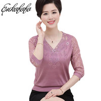 Mother Clothing New Summer Silk Tops Three Quarter Sleeve Lace T Shirt Women Fashion Slim Cotton