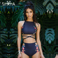 Dark Blue Print Floral Hight Waist Bikini 2017 Two Piece Striped Tankini Swimwear Women Sexy Female