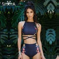 Dark Blue Print Floral Hight Waist Bikini 2017 Two Piece Striped Tankini Swimwear Women Sexy Female