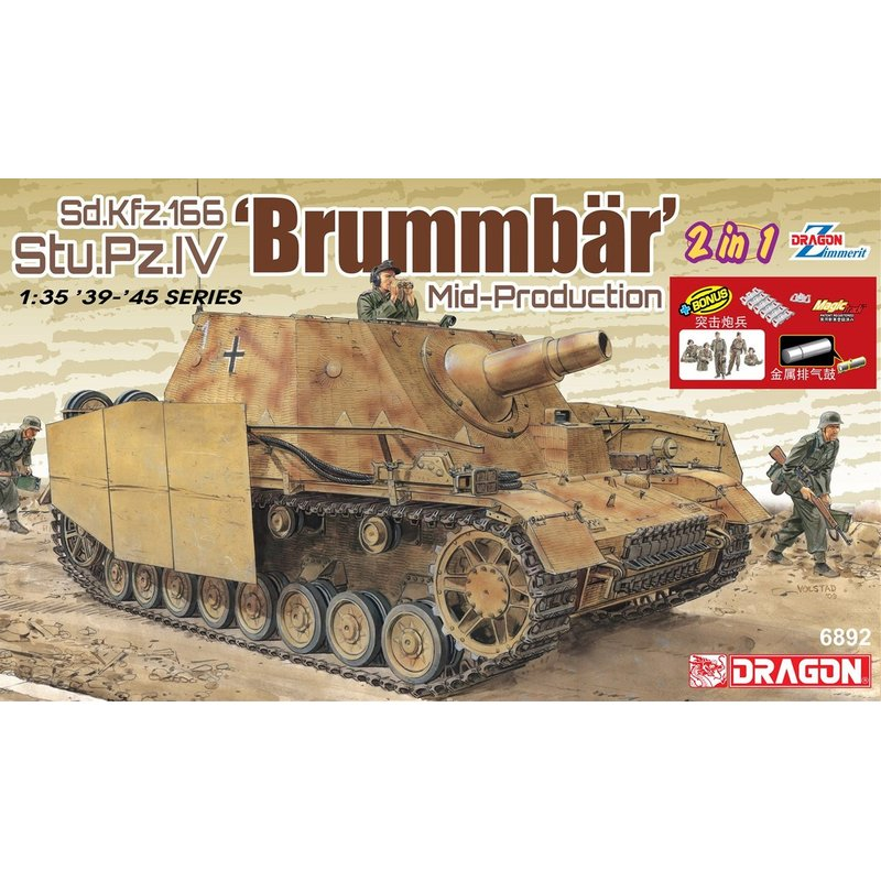 DRAGON 6892 1/35 Sd.Kfz.166 Stu.Pz.IV 'Brummbar' Mid Production   Scale model Kit-in Model Building Kits from Toys & Hobbies    1