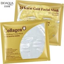 BIOAQUA Collagen 24K Gold Face Mask Essence Moisturizing Nourishing Crystal Soothing Sleek Facial Anti-Aging Skin Care