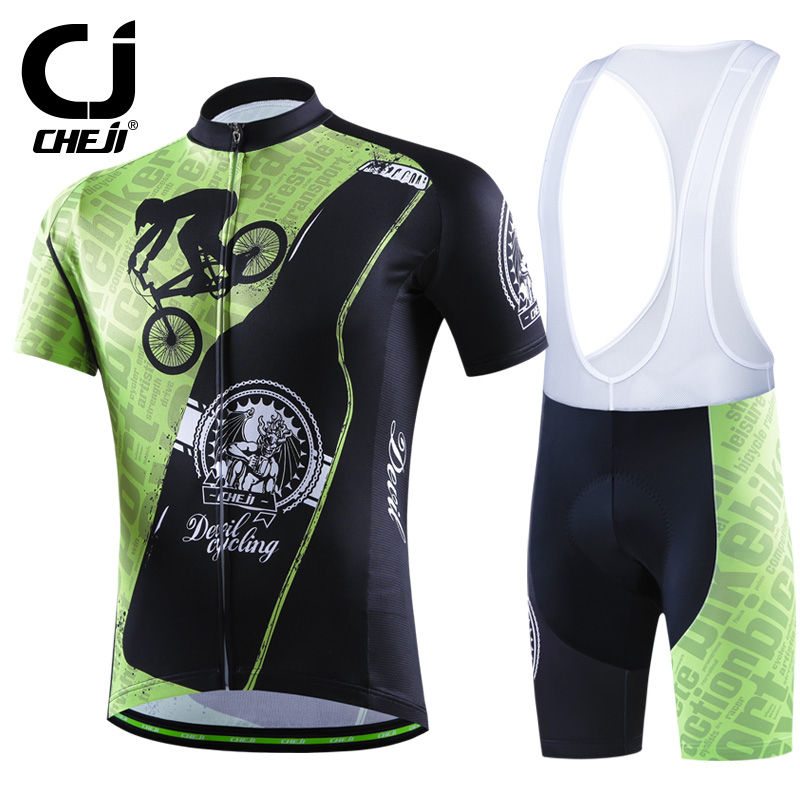 CHEJI Devil Cycling Jerseys And Bibs Set Men Bike Shirts & MTB Padded Bib Shorts / Tights Cycle Clothing Suit Green new brand phantom bike bicycle cycling jerseys short set sports t shirts gel padded tights for men
