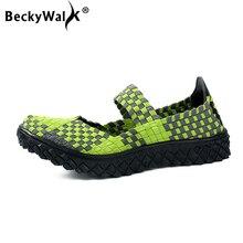 BeckyWalk zapatos planos tejidos a mano para mujer, zapatillas planas transpirables, para verano y primavera, WSH2901