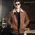 2016 мужская натуральной кожи куртка double face меха мотоцикл свиной Натуральной Кожи куртка мужчины кожаное пальто