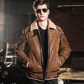2016 Men's real leather jacket double face fur motorcycle pigskin Genuine Leather jacket men leather coat