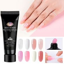MEET ACROSS 20ml Quick Poly Extension Gel Finger Nude White Clear Acrylic UV LED Hard Builder Nail Art