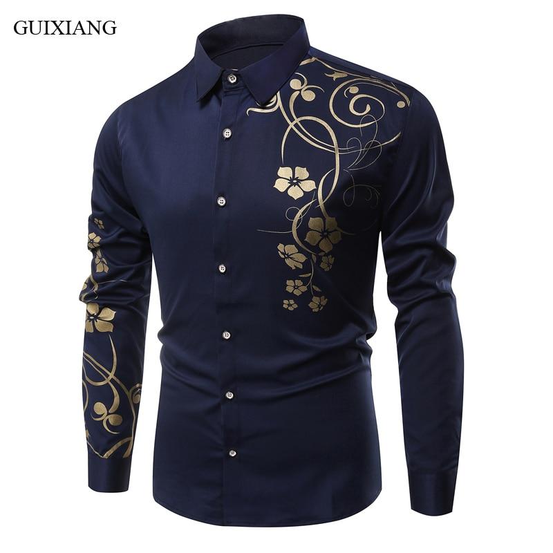 2018 new oreign trade long sleeve shirt fashion casual slim printing pattern shirt men's summer leisure shirt overcoat M-3XL