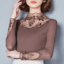 Hollow Out Women Spring Autumn Style Lace Blouses Shirts Cas
