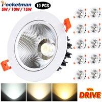 10PCS/Lots High end White Black LED COB Spotlight Ceiling lamp AC85 265V 15W Aluminum recessed downlights round led panel light