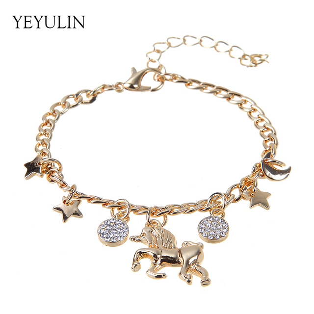 Trendy Alloy Silver Gold Color Unicorn Charms Bracelet With Moon Star Cute Anime For