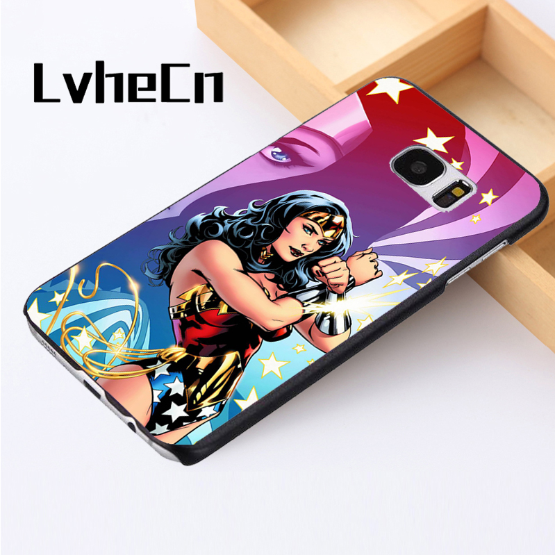 LvheCn phone case cover For Samsung Galaxy S3 S4 S5 mini S6 S7 S8 edge plus Note2 3 4 5 7 8 WONDERWOMAN CARTOON ART ...