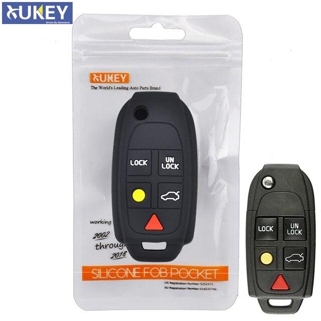 Pour Volvo XC90 S80 XC70 S60 V70 Silicone à distance boîtier de clé pliable Fob coque couverture peau support 5 bouton