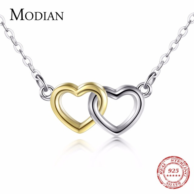 5912106fb Modian Top Quality Solid 925 Sterling Silver Double Hearts Pendant Necklace  Gold & White Color Chain Women Wedding Jewelry Gift