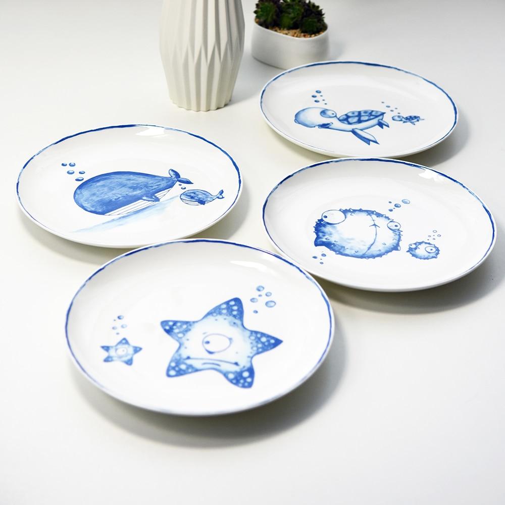 Marine Animals Bone China Plates A Set Of 4 Pieces Dining Room Tableware Dinnerware 8
