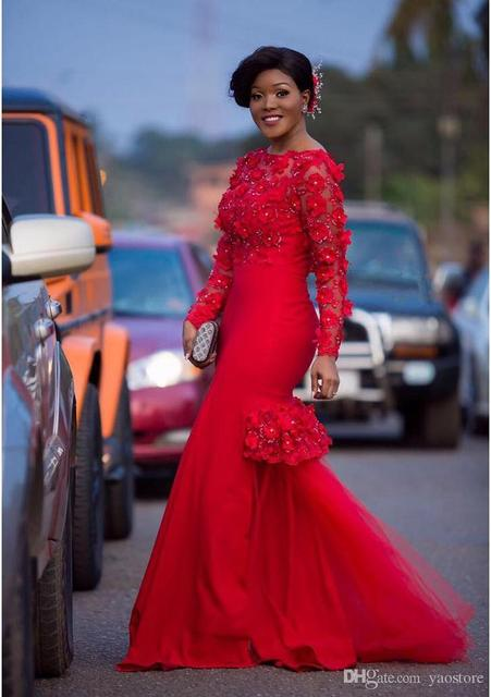African America Engage Dress Flowers Red Prom Gown With Long Sleeves Tulle Mermaid Formal Evening